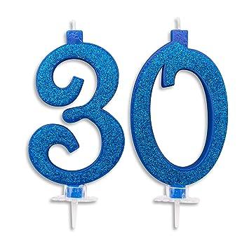 Velas Maxi de 30 años para Tarta de cumpleaños de 30 años, decoración de Velas de cumpleaños, Tarta de 30 cumpleaños, Fiesta temática, Altura 13 cm, ...