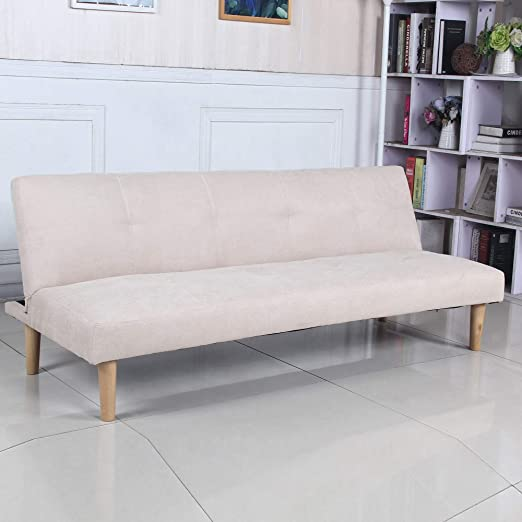 Sofá Cama 3 plazas Clic Clac Joy Beige tapizado con Tela 100% Poliéster, Patas de Madera