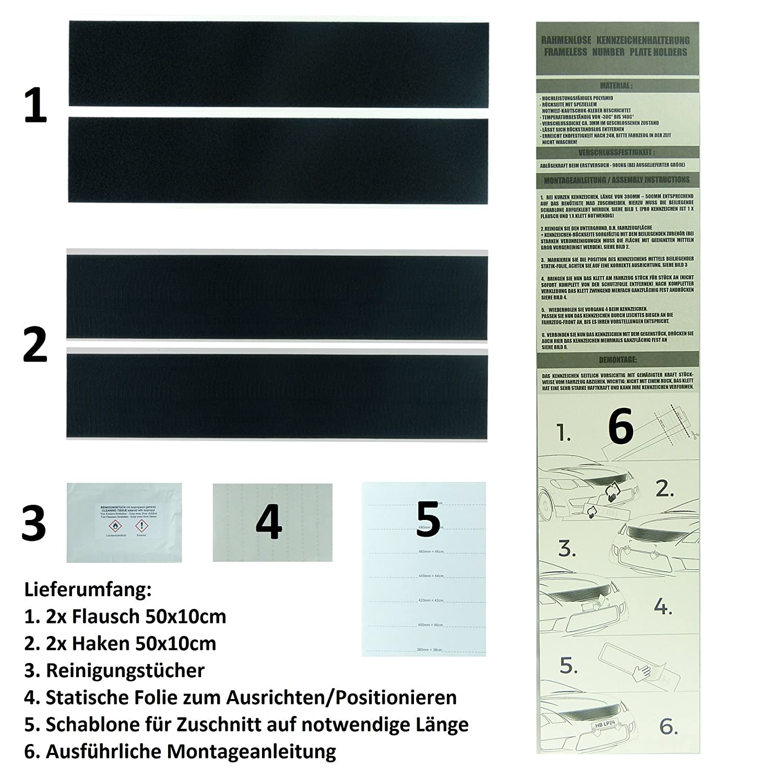 LP A160 2 Stück Kennzeichenhalter rahmenlos origi. Klett-IT ...