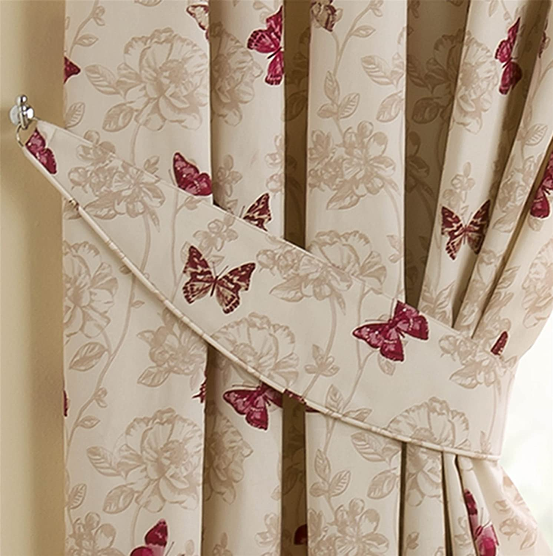 Homescapes Gardinen Raffhalter 2 St/ück Mauve Creme erg/änzend zu Klassische Fertiggardinen mit Schmetterling Print