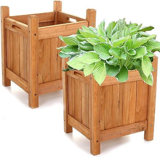 2 macetas de madera para jardín, maceta para plantas, maceta para ventana, 2 x Square Planters: Amazon.es: Jardín