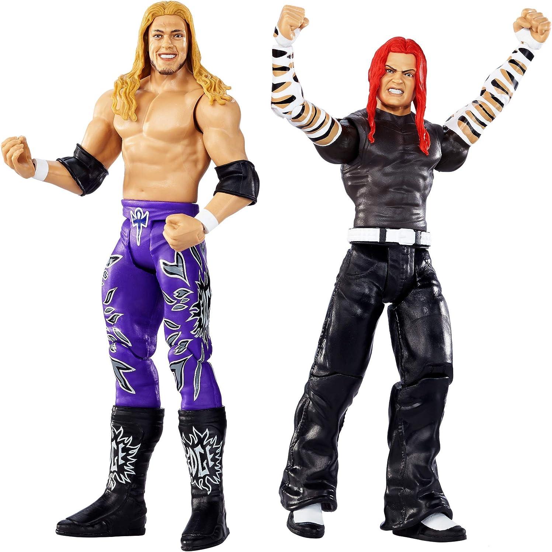 WWE Wrestlemania Pack de 2 Figuras de Acción Luchadores Jeff Hardy vs. Edge, Juguetes Niños 8 Años (Mattel GDC03)