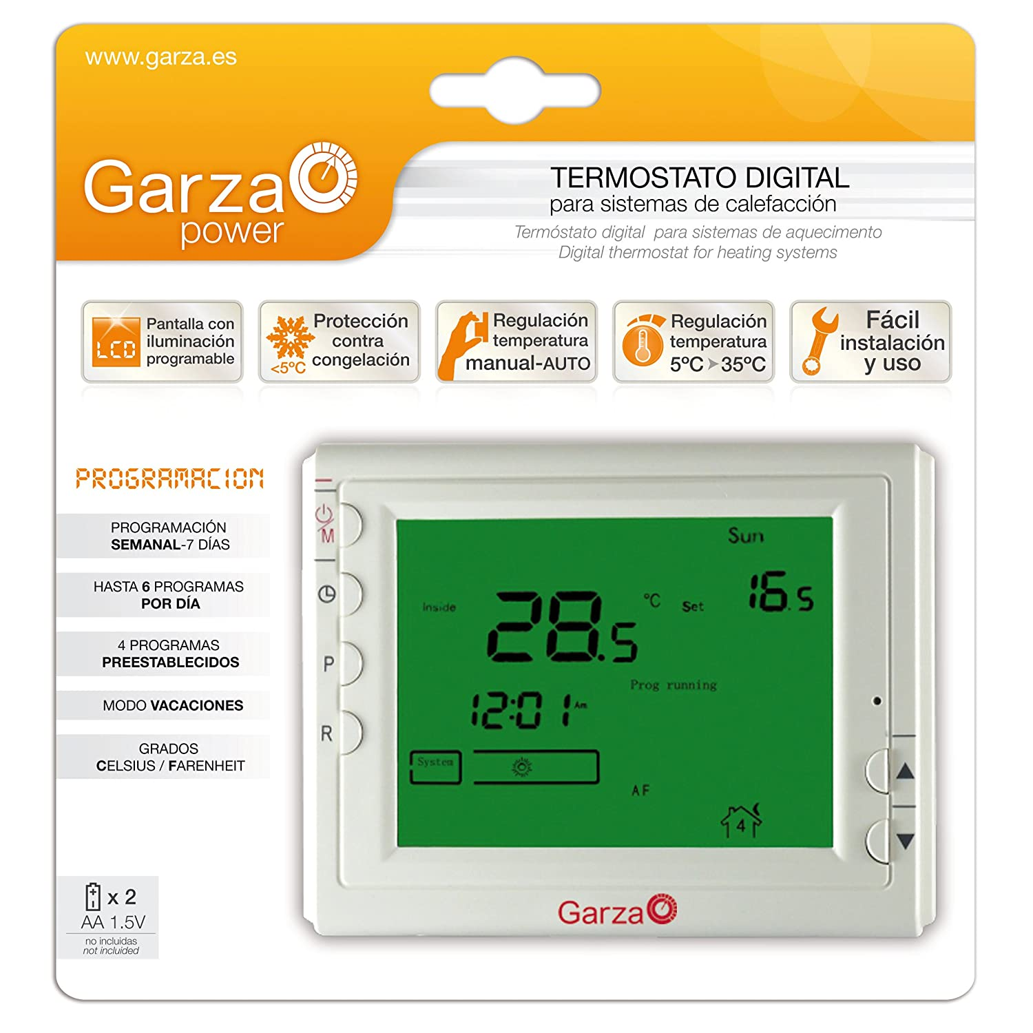Garza Power - Termostato Digital programable para Caldera y calefacción. Cronotermostato Digital Controlador de Temperatura.: Amazon.es: Bricolaje y ...