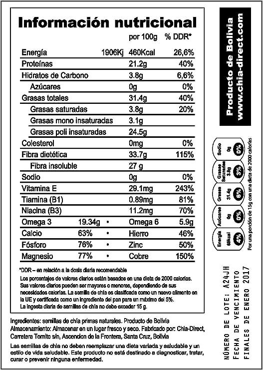 Semillas naturales de chía, sin OGM, libres de pesticidas 1kg: Amazon.es: Hogar