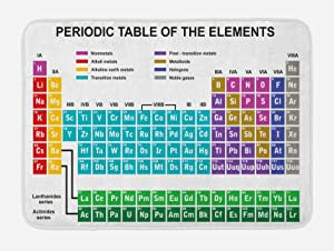 "Ambesonne Periodic Table Bath Mat, Educational Artwork for Classroom Science Lab Chemistry Club Camp Kids Print, Plush Bathroom Decor Mat with Non Slip Backing, 29.5"" X 17.5"", White Teal"