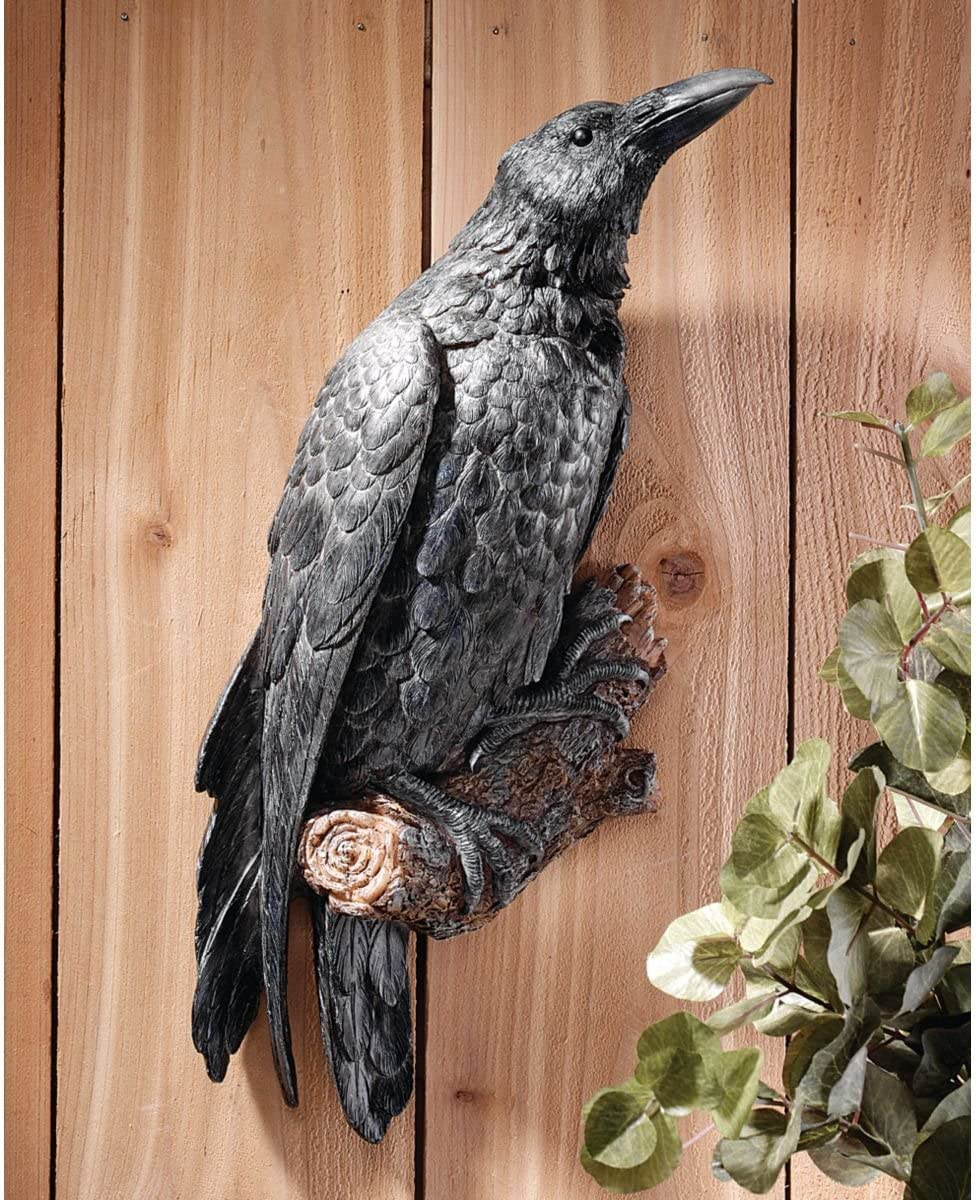 XoticBrands 18 Black Raven Bird Wall Sculpture Statue Figurine D cor
