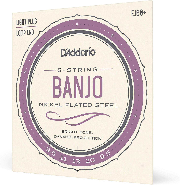 DAddario EJ60+. Cuerdas para banjo de 5 cuerdas, níquel, calibre fino plus, 9,5-20