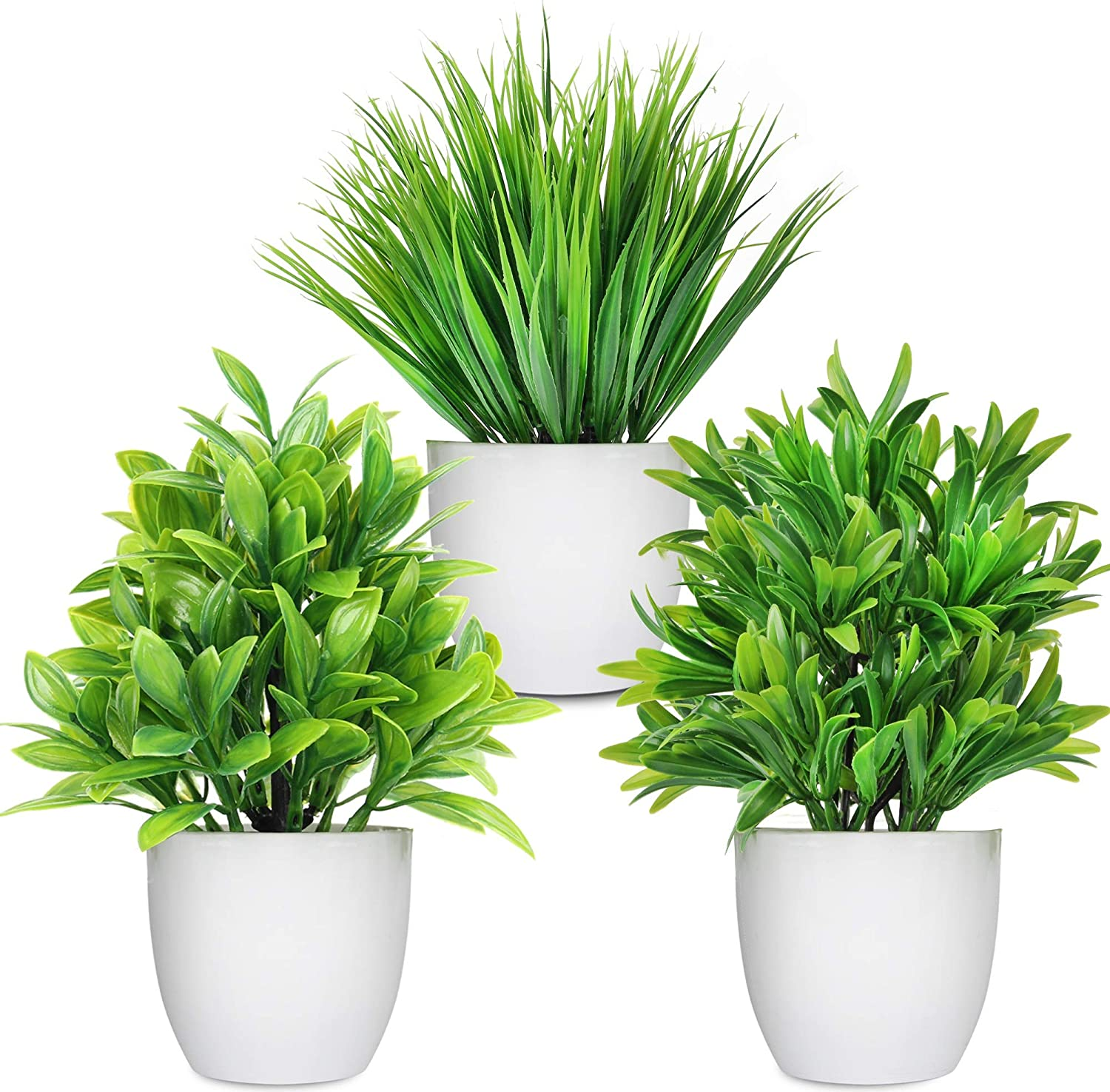 LELEE Artificial Plants Mini Fake Potted Plants, 3 Pack Small Eucalyptus Potted Faux Decorative Grass Plant with White Pot for Home Decor, Indoor, Office, Desk, Table Decoration