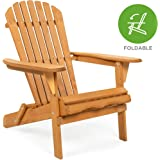 Best Choice Products Folding Wood Adirondack Chair Accent Furniture for Yard, Patio, Garden w/Natural Finish - Brown
