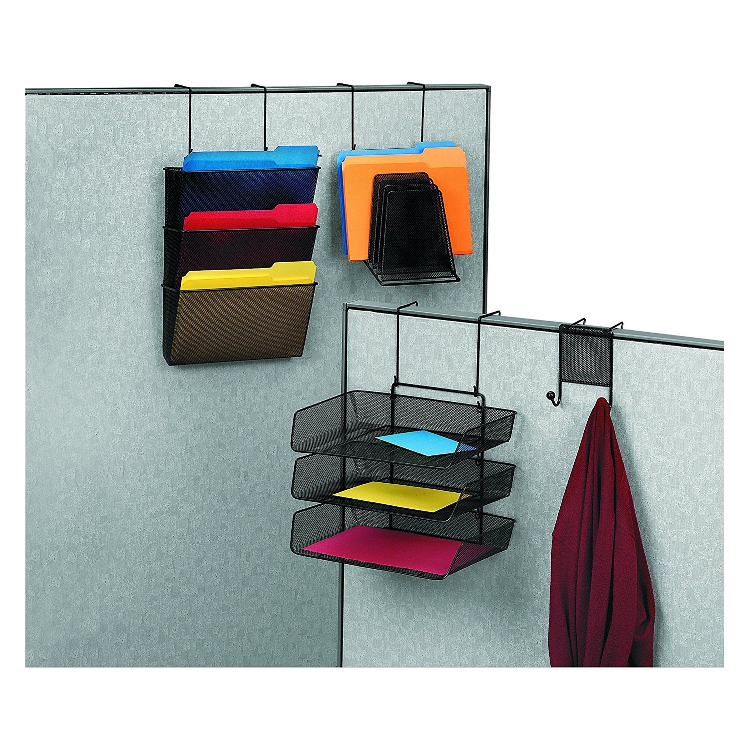 Fellowes Mesh Partition Additions Letter Size Black Triple File Pocket (75901) (Pack of 3)