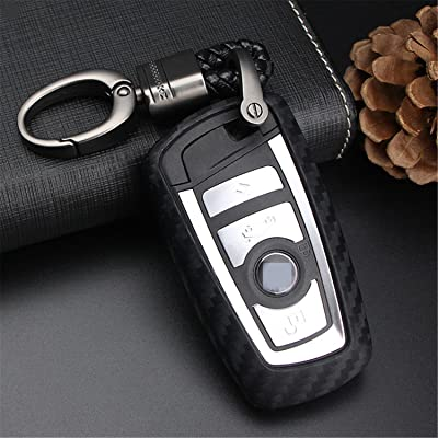 M.JVisun Soft Silicone Rubber Carbon Fiber Texture Cover Protector for BMW Key Fob, Car Remote Key Fob Case for BMW 1-Series 2 3 4 5 6 7 Series X3 X4 M2 M3 M4 M5 M6 - Black - Weave Keychain: Automotive [5Bkhe0907548]