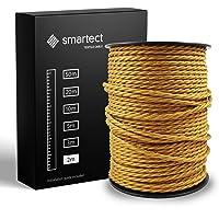 smartect Textilkabel för Lampor Guld - 2 Meter Tvinnad trasa täckt Tråd - 3 Prong (3 x 0.75mm²) Trasa Elektrisk Sladd…