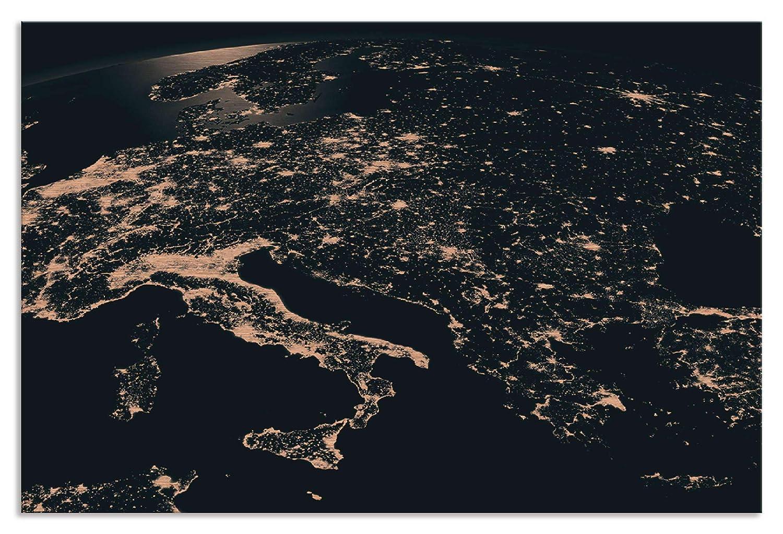 Artland Metallposter Kupfer I Wandbild Metall - Magnet Halterung 45x30 cm Alu Poster Querformat Satellitenbild Europa Bild Schwarz J2NH