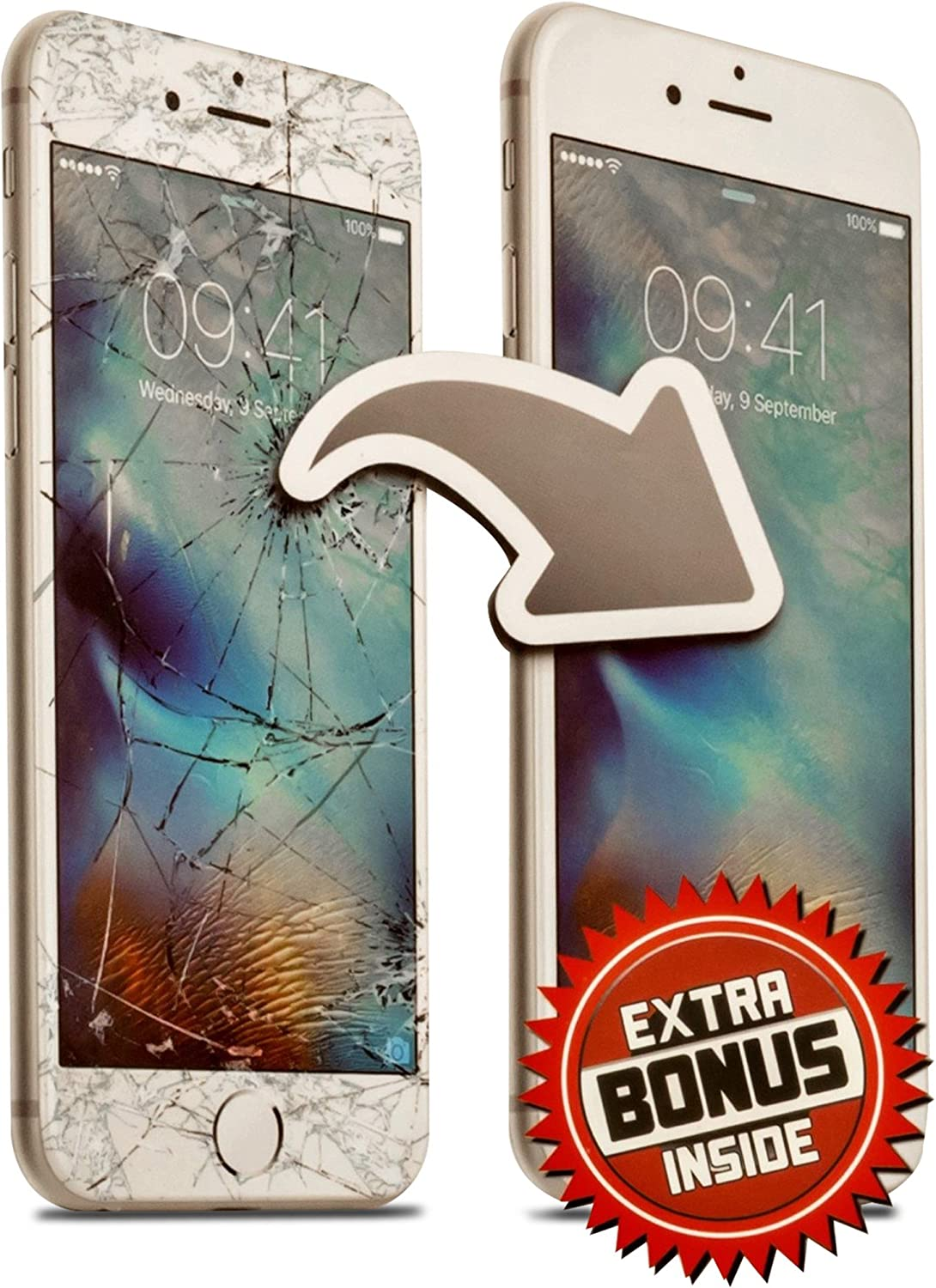 Screen Repair Complete Tool Kit Replacement Parts for iPhone6 Plus (White) Front Glass Lens Step by Step Instructions Two Extra Bonuses USB Charging Cable and Lightweight Matching Protector Case