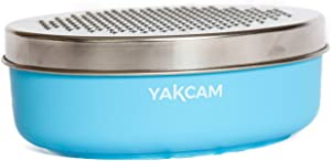 Yakcam Cheese and Vegetable Grater with Storage Container and Lid, Citrus Zester, Course and Fine 4 Piece Blue