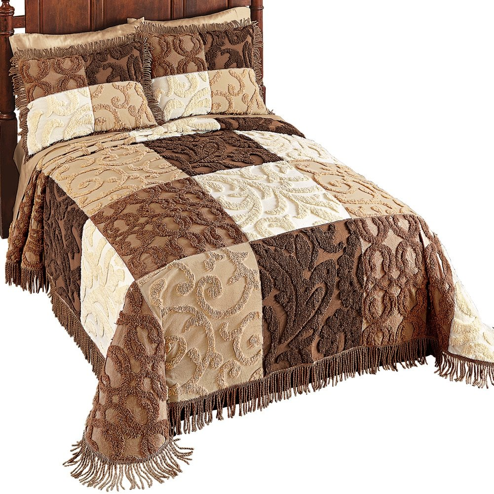 Collections Etc Mocha Patchwork Chenille Bedspread, Beige, Full