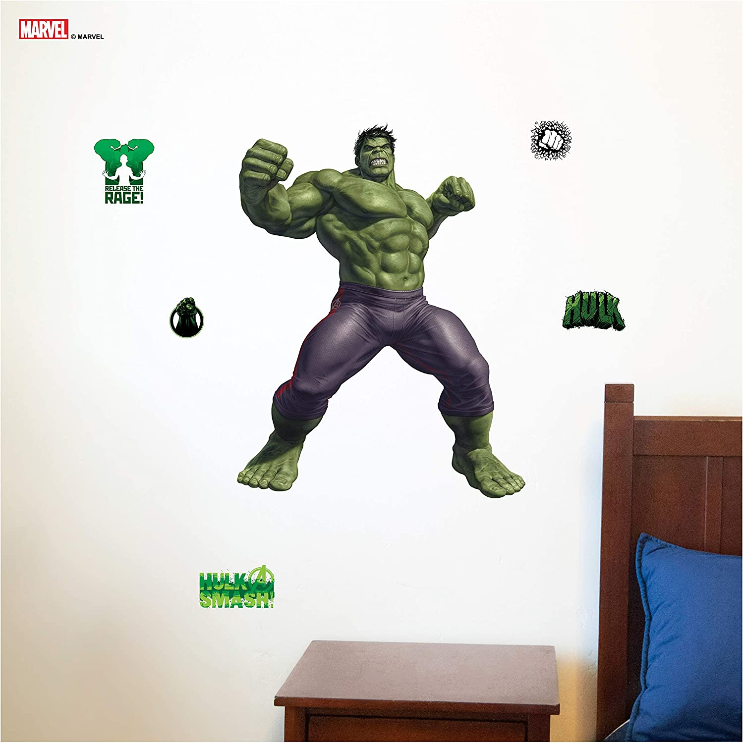 """Decalcomania Marvel Incredible Hulk 22"""" x 29"""" Wall Decal with 3D Augmented Reality Interaction"""