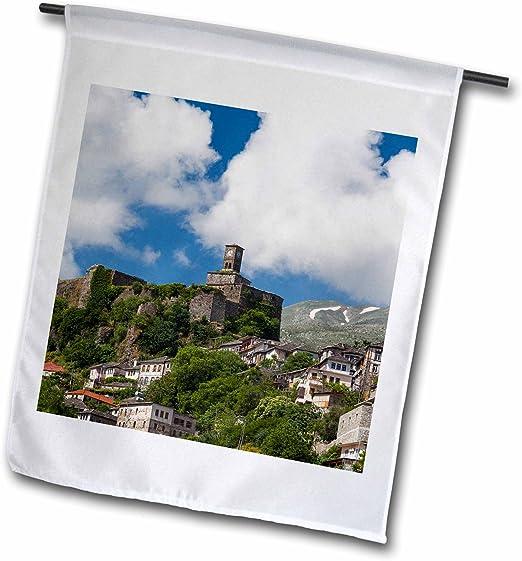 3drose Fl 208848 1 Albania Gjirokastra Elevated View Of Town And Castle Garden Flag 12 X 18 Inch White Amazon Co Uk Garden Outdoors