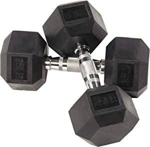 Fuxion Dumbbells 25 Lbs Rubber Encased Hex Pair | Hand Weights | All-Purpose, Home, Gym, Office, Exercise, Work (50 Total), Set of 2 Each 25 pounds / 11.3 Kg