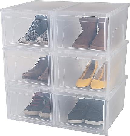Iris Ohyama, set 6 boîtes à chaussures boîtes de rangement pour chaussures New Drop Front Box EUNS, plastique, transparent, 14 L, 37 x 28 x 20