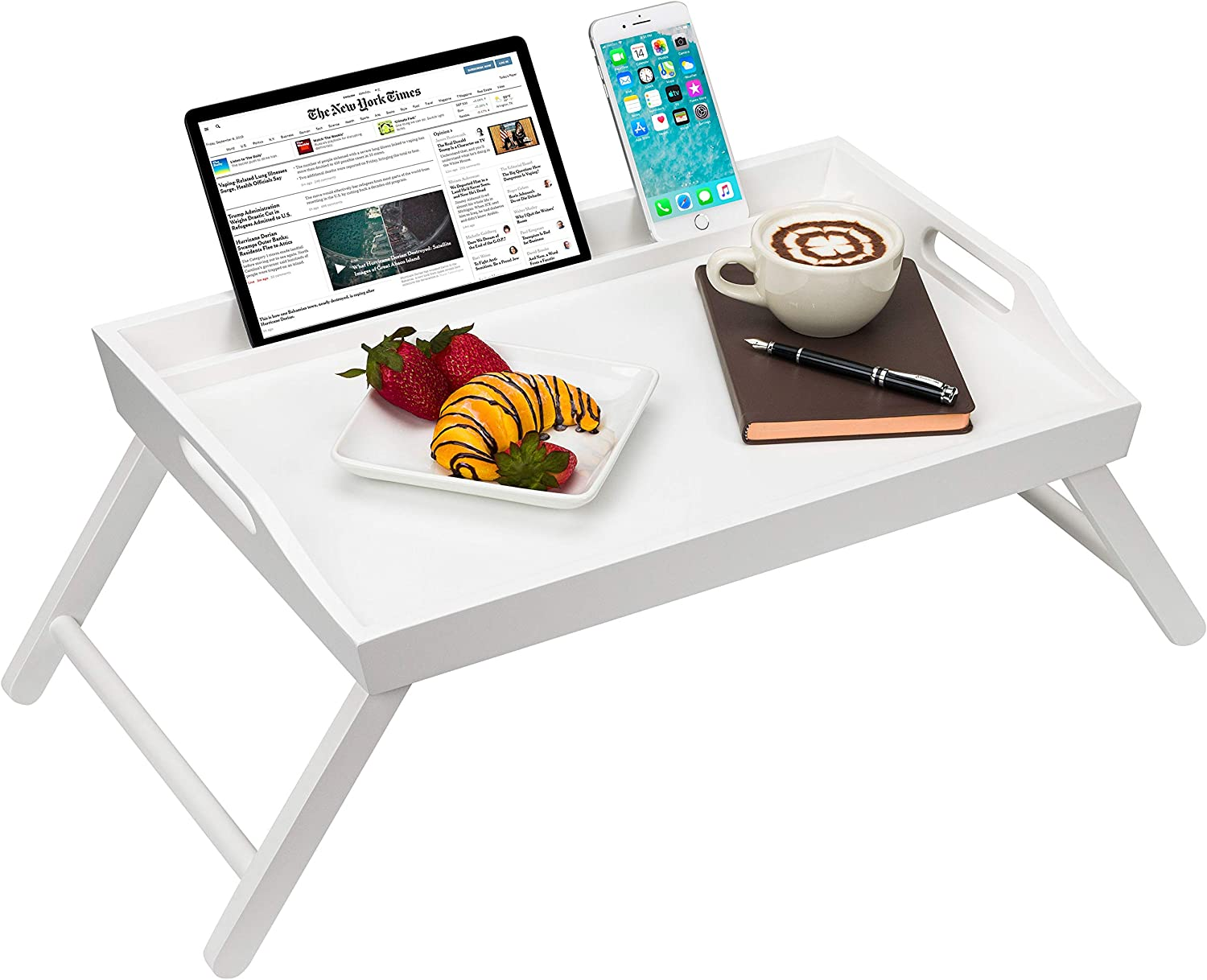 LapGear Rossie Home Media Bed Tray with Phone Holder - Fits up to 17.3 Inch Laptops and Most Tablets - Soft White - Style No. 78104