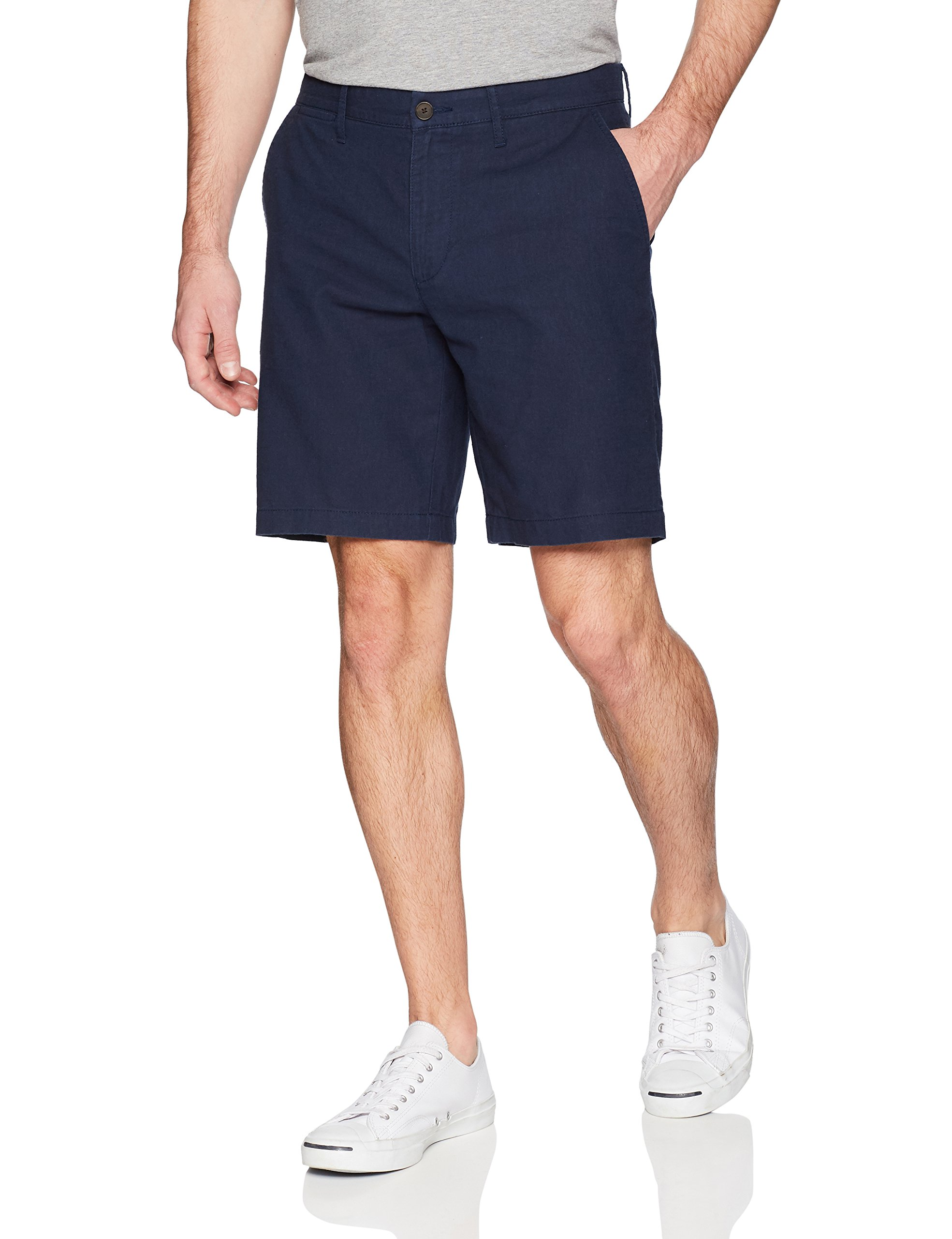 Goodthreads Men's 9'' Inseam Linen Cotton Short, Navy, 32