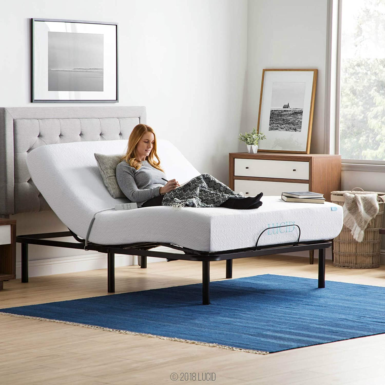 LUCID L100 Adjustable Bed Base Steel Frame - 5 Minute Assembly - Head and Foot Incline - Wired Remote Control - Queen LUL100QQAB