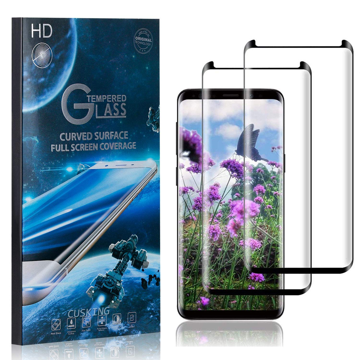 CUSKING Screen Protector for Galaxy S9 Bubble Free HD Tempered Glass Screen Protector for Samsung Galaxy S9 9H Hardness 2 Pack Shock Absorbent