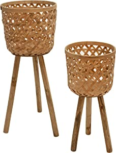 Sagebrook Home 13574-05 Bamboo Planters On Stand,Natural (Set of 2), Brown, 2 Count