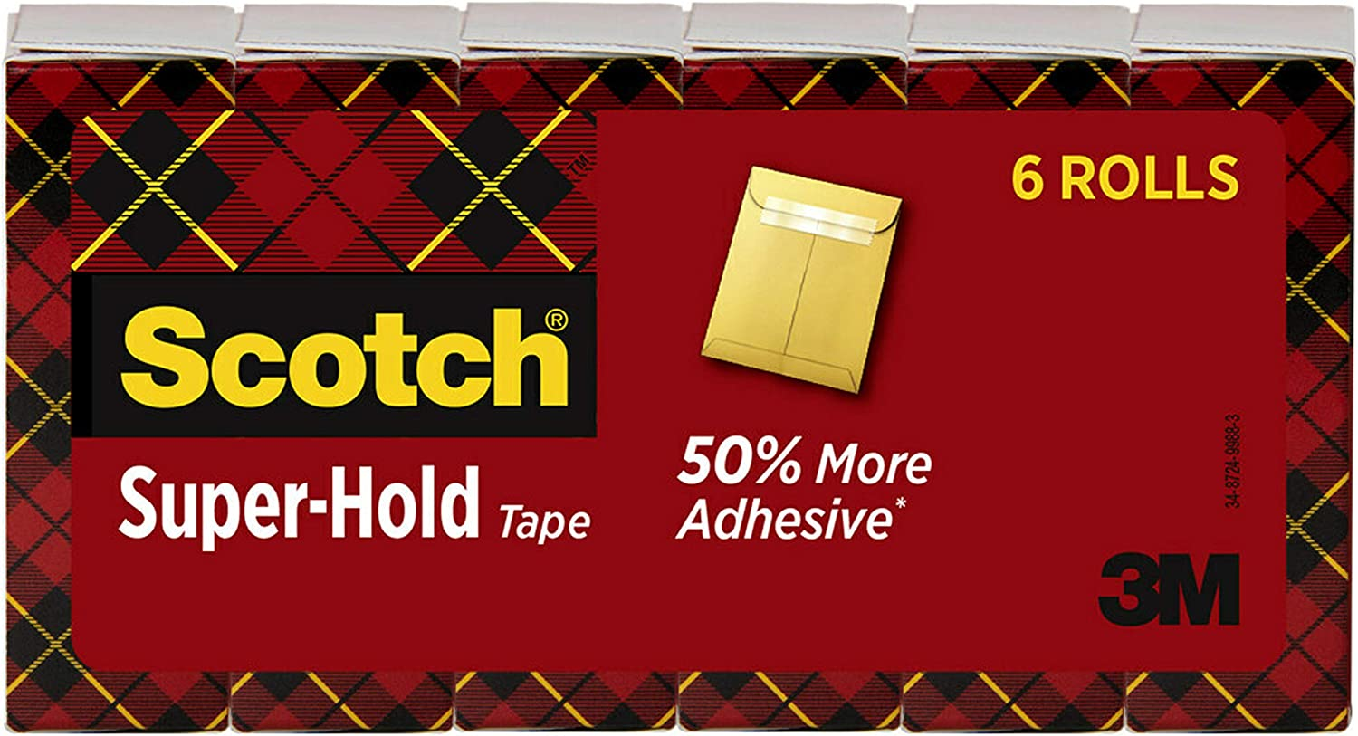Scotch Super-Hold Tape, 6 Rolls, Transparent Finish, 50% More Adhesive, Trusted Favorite, 3/4 x 1000 Inches, Boxed (700K6)