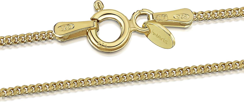 Amberta Joyería - Collar - Fina Plata De Ley 925-18K Chapado en Oro - Cadena de Frenar - 1.3 mm - 40 45 50 55 60 70 cm