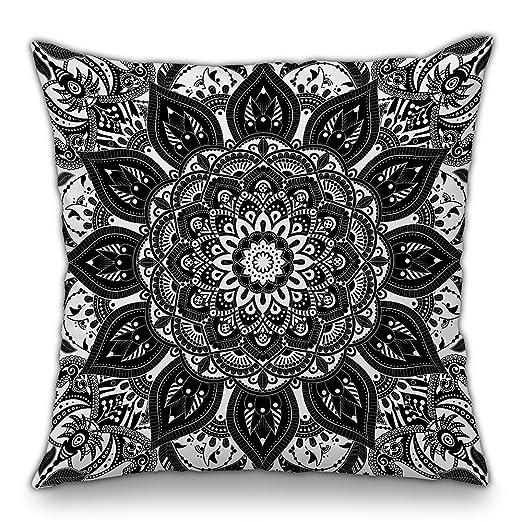 Moyun Blanco y Negro Serie Mandala Tiro Decorativo Bohemio Funda de Almohada cojín Hippie psicodélico Floral Complejo sofá decoración India 45x45 cm