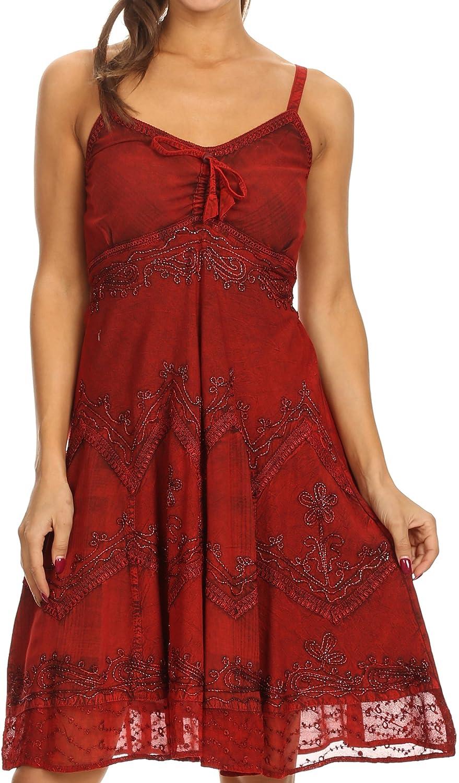 Sakkas Lacey Stonewashed Embroidered Silver Threaded Spaghetti Strap Dress