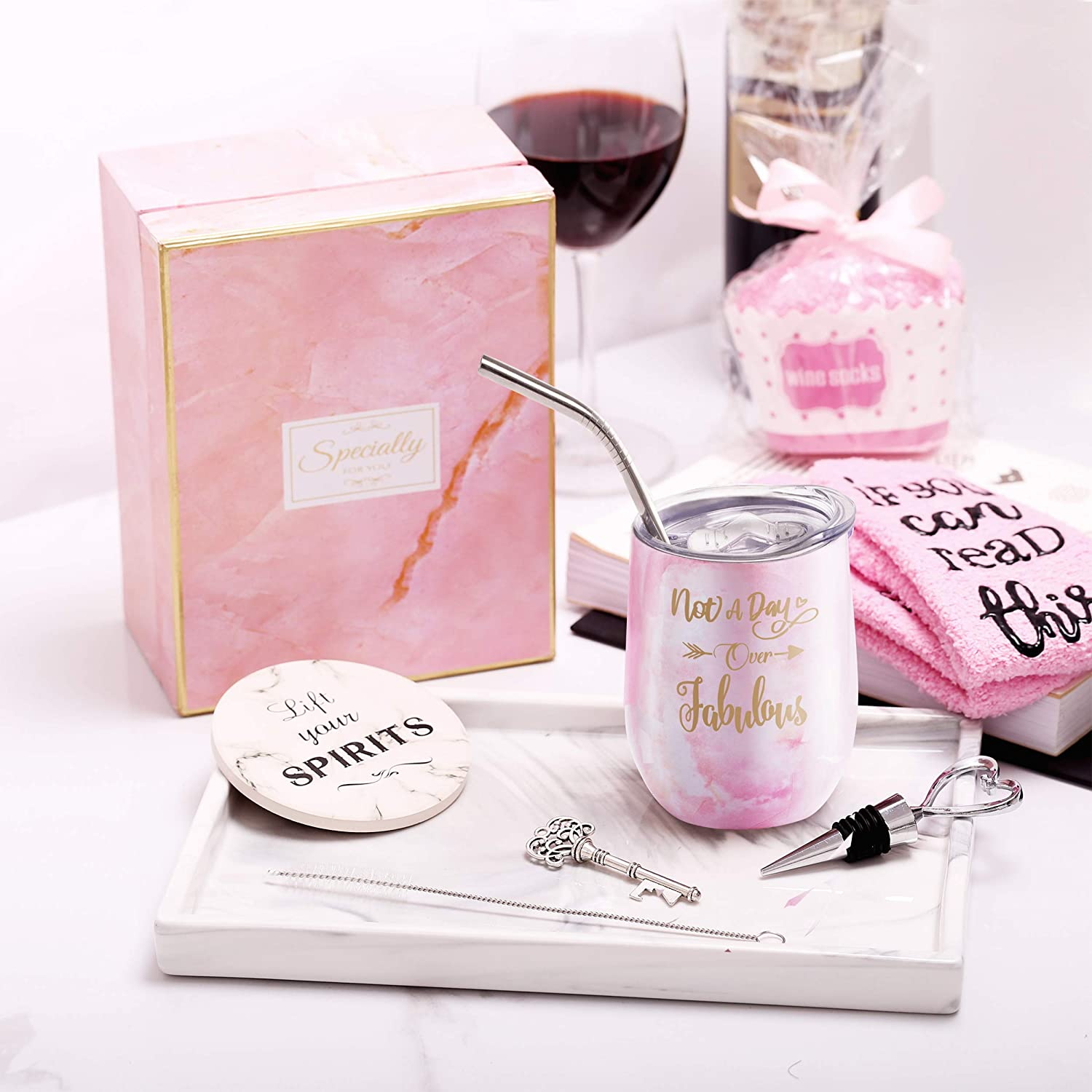 Wife Funny Birthday Wine Gift Ideas for Her Yorktend Not a Day Over Fabulous Wine Tumbler Grandma Mom Aunt Fun Birthday Gifts for Women Sister Best Friend BFF Coworker Daughter