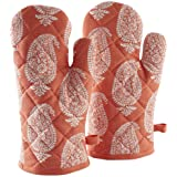 Amazon Brand - Solimo 100% Cotton Padded Oven Gloves, Paisley (Pack of 2, Orange)