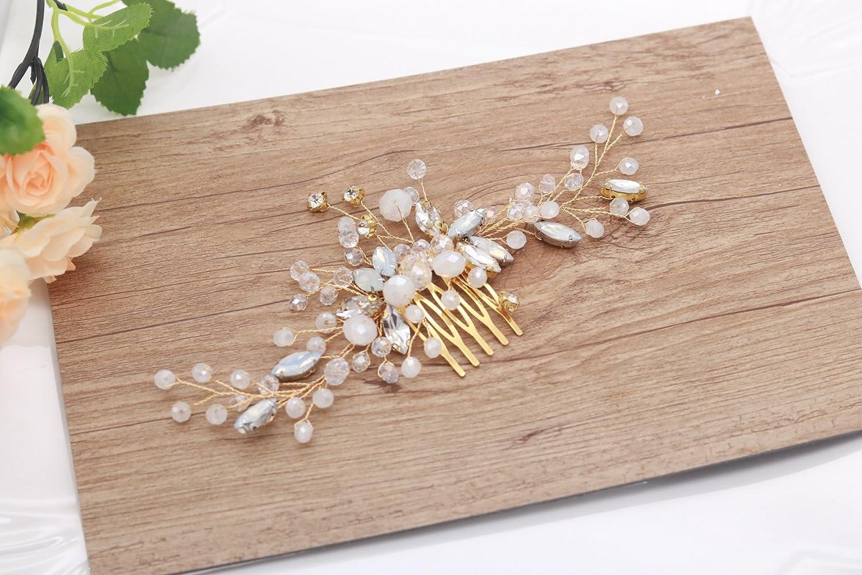 Kercisbeauty - Peineta para novia, dama de honor, peineta de pelo largo, rizado, accesorio para el pelo, boda o peine de pelo vintage, peineta con diamantes de estrás