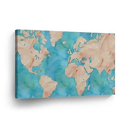 Amazon Com Decorative World Map Vintage Blue Background Art Canvas