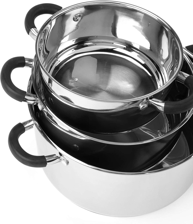16/cm Kasserolle und 16//20//24cm/Kasserollenpfanne mit Glasdeckel Russell Hobbs Fusion RH00253JAFOBGER 4-Piece Pan Set with 16 cm 16//20 24 cm Saucepan with Glass Lid Stainless Steel
