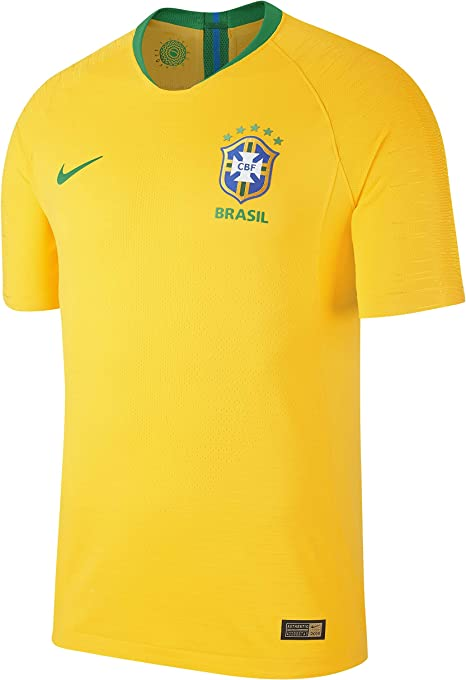 Nike 2018-2019 Brazil Home Vapor Match Football Soccer T-Shirt ...