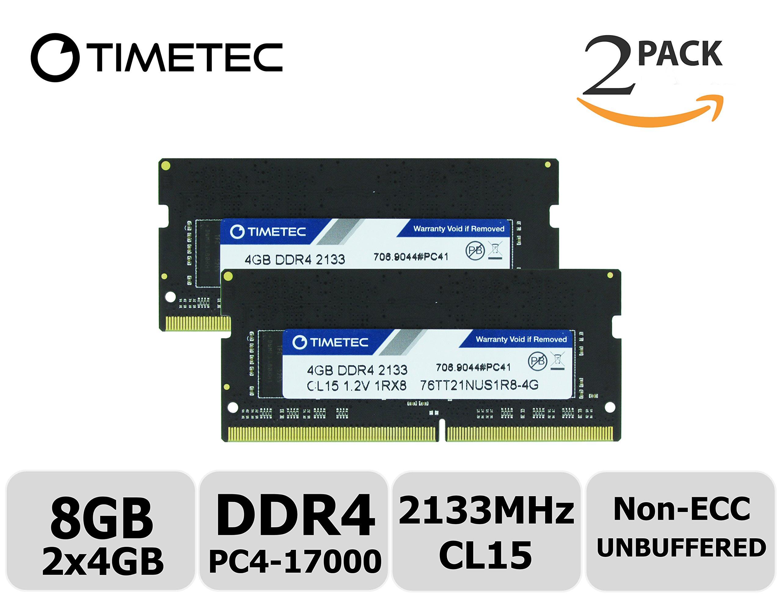 Timetec Hynix IC 8GB KIT (2x4GB) DDR4 2133MHz PC4-17000 Non ECC Unbuffered 1.2V CL15 1Rx8 Single Rank 260 Pin SODIMM Laptop Notebook Computer Memory Ram Module Upgrade (8GB KIT (2x4GB))