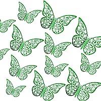 AIEX 24st 3D Vlinders Ornamenten Levendig Verwijderbare Stickers (Donkergroen)