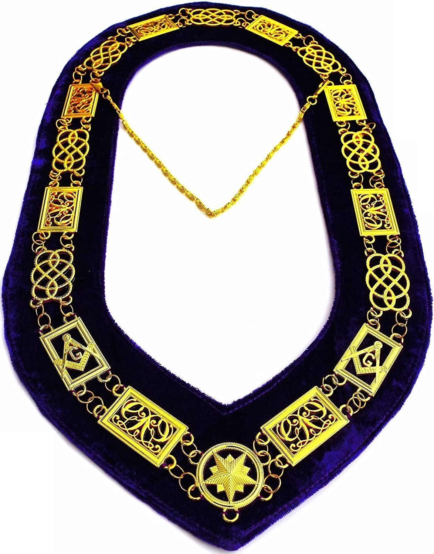 Masonic Regalia Past Master Chain Collar Gold Plated Chain With Purple Velvet