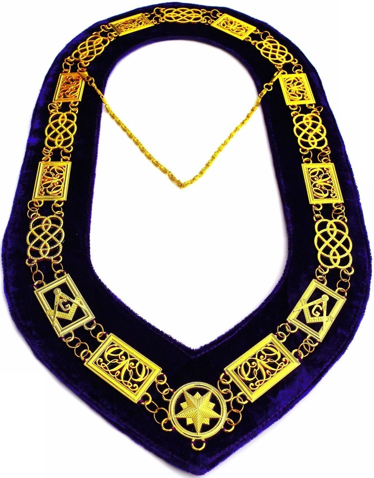 DEURA Masonic Collar Freemason Grand Lodge Master Mason Gold Plated // Purple Velvet Backing DMR-100GP