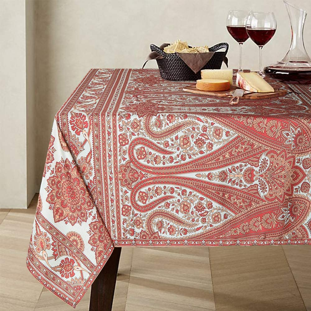 Lahome Autumn Palatial Paisley Tablecloth - Polyester Fabric Water Resistant Fall Harvest Printed Tablecloth Table Cover for Kitchen Dining Room Home Decor (Paisley, Rectangle - 60