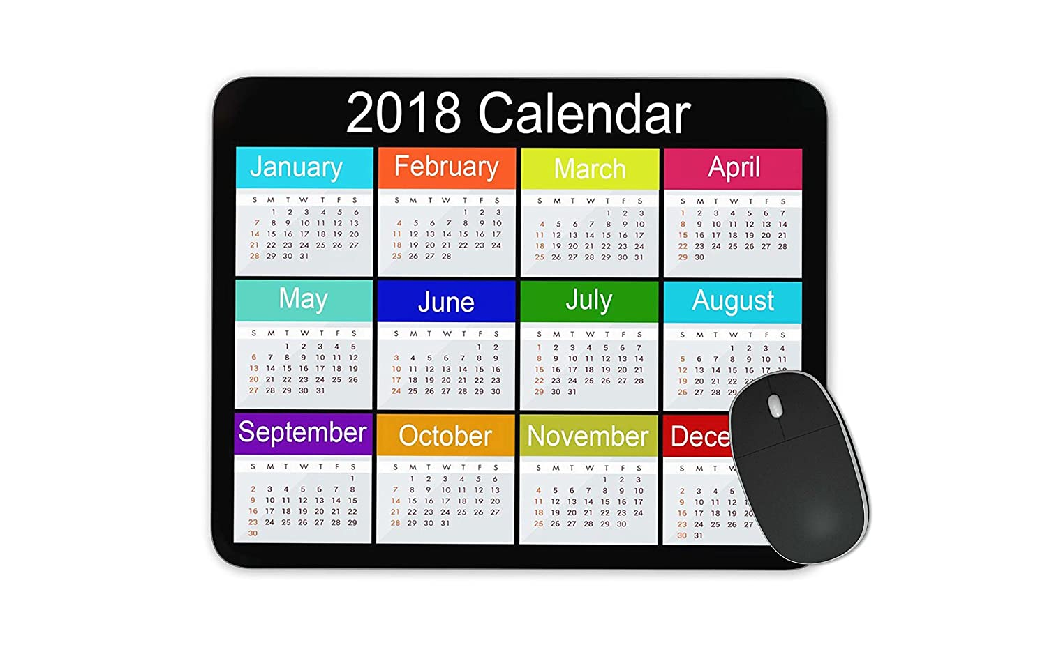 2018 calendar Mouse pad Gaming Mouse pad Mousepad Nonslip Rubber Backing