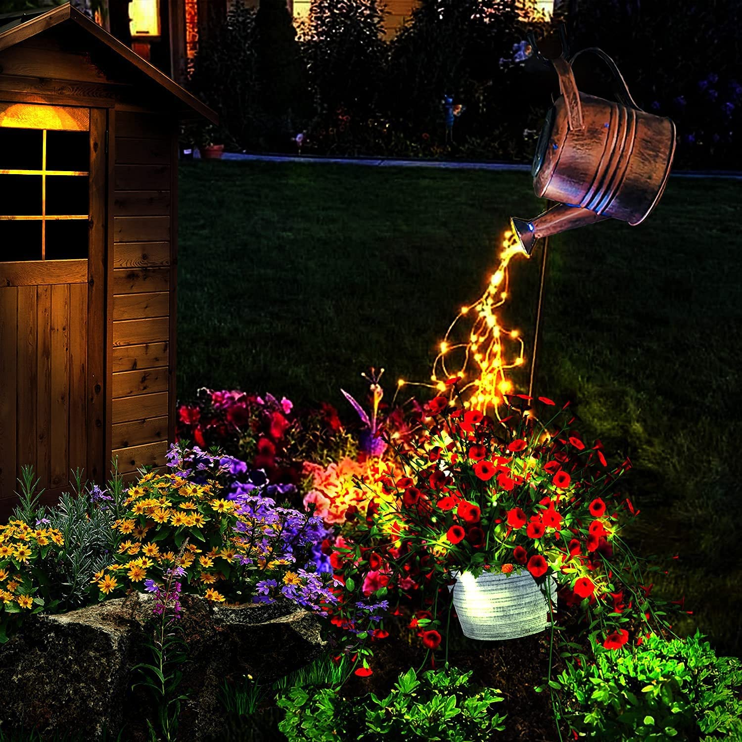 Solar Shower Garden Art Light Decoration - LED Watering Can Lights Waterproof Strip Lights for Outdoors Lamp Outdoor Star String Fairy Light with Bracket for Home Pathway Patio Yard Festoon Flash