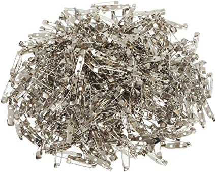 Making Corsage Name Tags 200 Pcs Silver Tone Brooch Pin Backs Clasp 1 Inch Bar Pins Findings 3 Holes Safety Pins for Badge Insignia Toy Pins and Jewelry Making by STARVAST Citation Bars