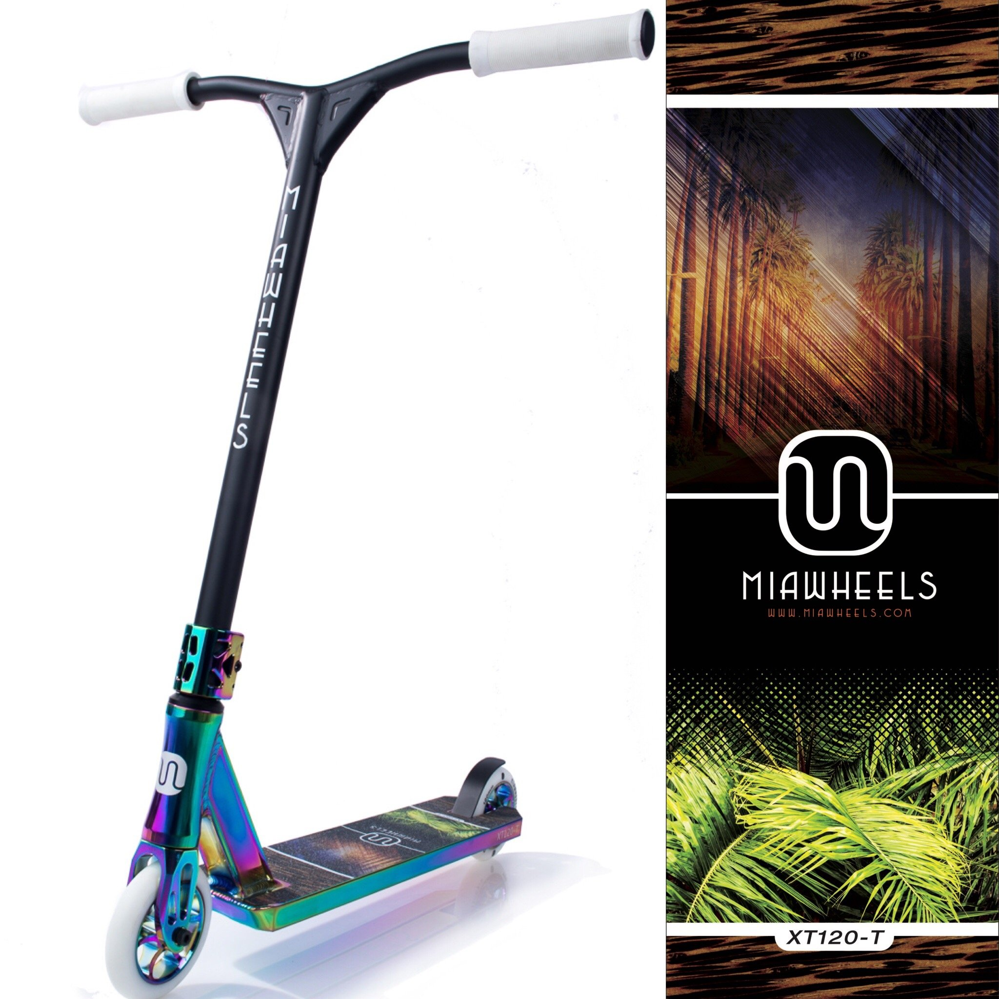 MIAWHEELS XT-120 (Tropical - White) Stunt Scooter- NEO-Chrome- 120MM Wheels- Made for Tricks- PRO Scooter