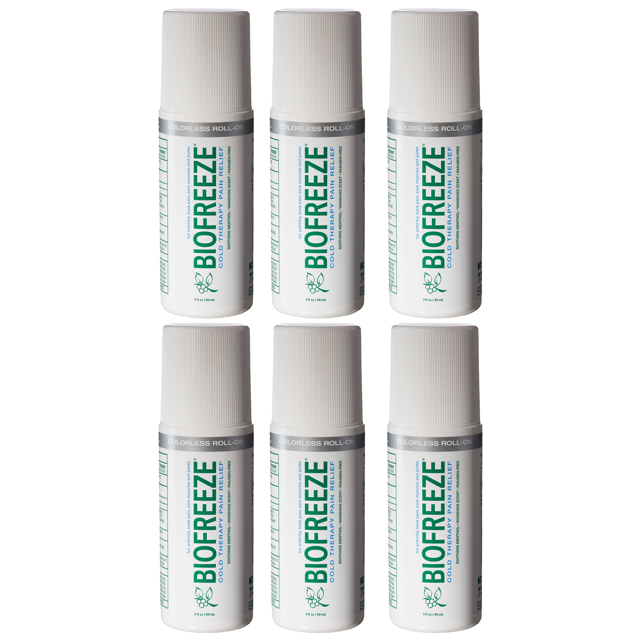Biofreeze Pain Relief Gel, 3 oz. Colorless Roll-On, Fast Acting, Long Lasting, & Powerful Topical Pain Reliever, Pack of 6