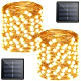 Albelt 2-Pack Each 72ft 200LED Solar String Lights (Ultra-Bright & Extra-Long), Upgraded Solar Christmas Lights Outdoor, Waterproof Copper Wire 8 Mode Solar Powered Fairy Lights (Warm White)